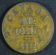 1922 Canada One Cent - Key Date in Very Fine Condition