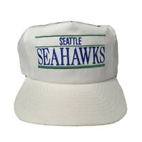 Vintage 90s Seattle Seahawks Spellout Bar Snapback Hat White Annco