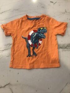 Baby GAP Boys Short sleeve Shirt T-shirt Dino Dinosaur T-Rex Orange 18-24M