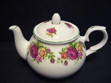 Cottage rose English Fine Bone China 6 Cup Tea Pot By Milton China (Green Rim)