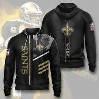 New Orleans Saints Hoodie Football Zipper Sweatshirt Men's Sports Hooded Jacket