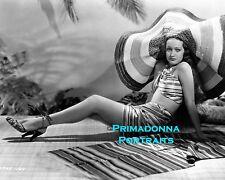 DOROTHY LAMOUR 8X10 Lab Photo 1940's Leggy Sexy big Floppy Hat Bathing Suit Babe