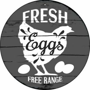"FRESH EGGS FREE RANGE FARMHOUSE STYLE 12"" ROUND LIGHTWEIGHT METAL WALL SIGN"