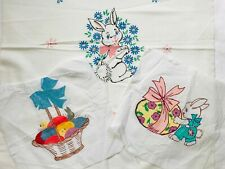 Lot of 3 Vintage Hand Painted Easter Bunny Rabbit Basket Quilt Blocks Fabric