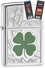 Zippo 24699 four leaf clover luck Lighter with *FLINT & WICK GIFT SET*