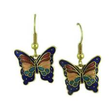 Blue, Red, and Peach Cloisonne Butterfly Pierced Earring - CE20KBL