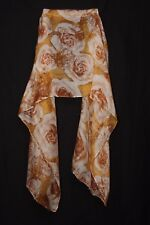 Cream Rust Tangerine White & Traces Of Crimson subtle Roses Print Scarf (S179)