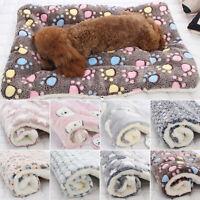 Pet Mat Paw Print Cat Dog Puppy Fleece Mattress Cushion Bed Blanket Soft Warm