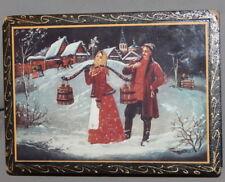 VINTAGE RUSSIAN FOLK LITHO WOOD BOX