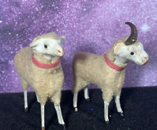 Antique Vintage Wooden Stick Leg Wooly Sheep Putz Nativity Germany Lot of 2