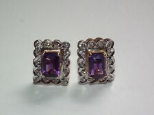 Beautiful, Solid 14ct Gold Natural Amethyst & Diamond Earrings, Superb Example!