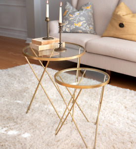 Two Tier Glass Top Tables