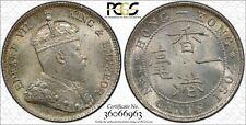 Hong Kong Edward VII 10 cents 1904 silver toned GEM uncirculated PCGS MS65