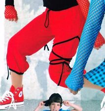 NEW HIPHOP red PANTS black SIDETIE drawstring waist CHILD ADULT dance costume