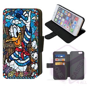 iPhone/Galaxy Faux Leather Printed Flip Phone Case Duck Stained Glass Design (M)