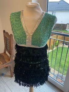 VINTAGE 60's GREEN & BLACK FRINGED MOD MINI DISCO DRESS UK 8 SMALL