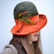 VTG 70s 20s Orange + Green FEATHER Fedora Cloche Wide Brim Church HAT Derby NOS