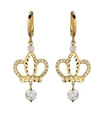 10K Solid Yellow Gold CZ Crown Premium Dangling Earrings