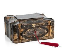 More details for chinese antique tea caddy in black lacquer & gold with decorative lead interior