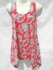 "JOSTAR ""NEW"" LONG TANK  POINTED  SIDE TOP       SM     RED/TEAL LEAF"
