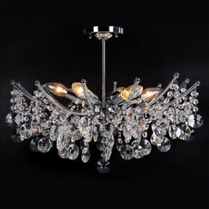 K9 Crystal Chandelier Ceiling Light Clear Crystal Pendant 6 Arm Candle Lamp New