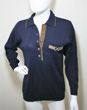 VINTAGE MIXAGE SWEATER TOP EQUESTRIAN THEME HORSE HEAD BUTTONS NAVY BLUE VTG S