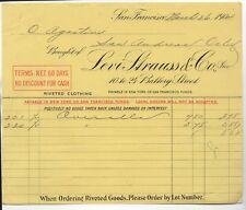 Rare 1904 Yellow Billhead from Levi Strauss San Francisco