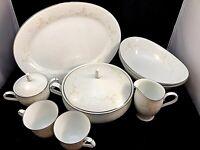 NORITAKE TEMPTATION 2752 Vegetable Bowls Tea Cups Cream Sugar Platter