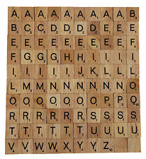 100 WOODEN SCRABBLE TILES SCRAPBOOKING JEWELLEREY ARTS AND CRAFTS - UK SELLER