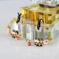 Love Garden Earrings,Party,Handmade,Crystal,Pearls Enamel Jewelry+Gift Pouch