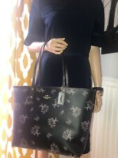 NWT Coach Large City Tote Black Floral Multi Reversible  Leather Bag 78283 $350