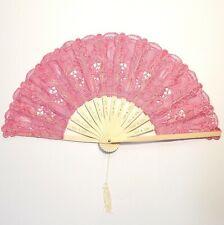 Lace fan baby pink Ventaglio Pizzo Rosa cerimonia cosplay bomboniere damigella