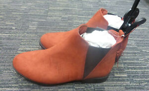 LADIES FAUX SUEDE BOOTS TERRACOTTA SIZE 7 PRIMARK NEW