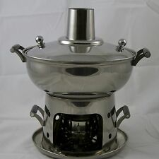 22CM Stainless Steel Mongolian Hot Pot With Alcohol Burner - Chinese Steam Boat