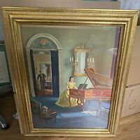 Conrad Leigh Framed Print Victorian Woman Piano Parlor Conservatory Gold Frame