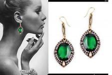 Bronze Crystal Rhinestone Dangle Earrings Exquisite New Elegant Green Jewel