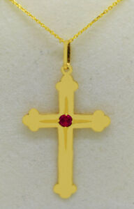 RUBY CROSS PENDANT 14k SOLID YELLOW GOLD * Free Chain * New With Tag