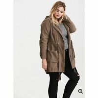 Torrid Womens Size 00 US Sz M Twill Anorak Jacket Morel Brown