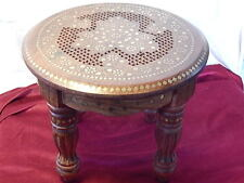 Coffee Table Hand Carved Indian Decorative Brass Work Utility Round 38cm