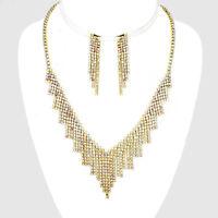 Aurora Borealis gold tone diamante AB sparkly jewellery set Brides proms 0574