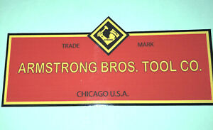 """Armstrong Bros. Tool Co Decals For Restoring Tool Box 4 1/2"""" Decals set of 2"""