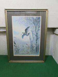 Framed Signed Limited Edition Print Woodcock in Flight by J.C. Harrison