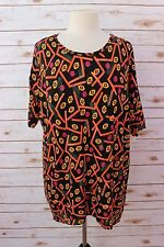 XS LuLaRoe Irma Tunic Black base Yellow Pink Green Orange White AZTEC Print NWT