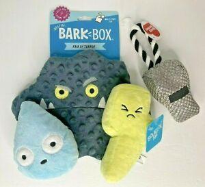LOT ~Best of Bark Box: Rain of Terror Multi-Part Dog Toy Squeaky Crinkle + BONUS