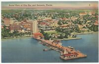 City Pier and Sarasota Fl Aerial View Vintage Postcard Florida