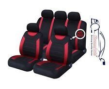 9 Pce Deportes Carnaby Rojo / Negro Set completo de alquiler de cubiertas de asiento Seat Ibiza Leon Tole