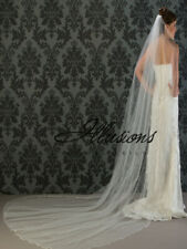 "Illusions Bridal Veils One Layer - 120"" Cathedral - 1/8"" Ribbon Edge - Dia White"