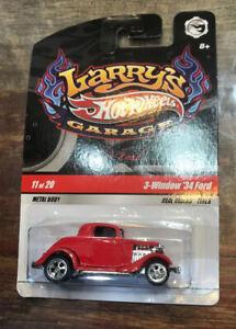(red) Hot Wheels Larry's Garage - 3 Window '34 Ford - 1:64 //NOC//