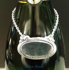 Targhetta liscia nuova argento 800/°°° per bottiglia brandy completa di catena
