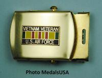 Air Force Vietnam Veteran black Web Belt &  brass buckle USAF BB629